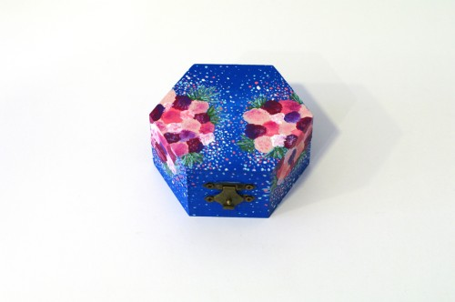 Blue box with pink flowers