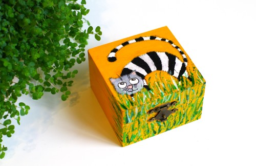 Yellow box with striped cat