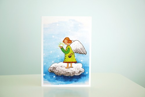 Christmas angel girl card