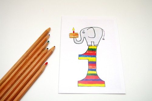 First birthday card with elephant