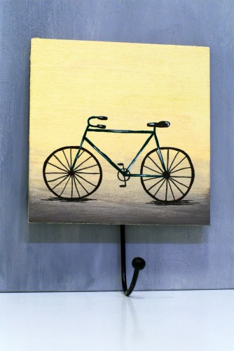 Green bike wooden hanger