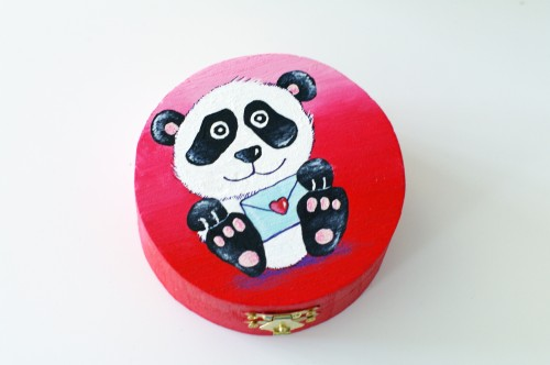 Red box with cute panda